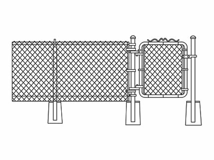 A drawing shows each part of chain link fencing.