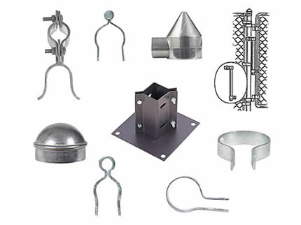 Nine chain link fence accessories on the white background.