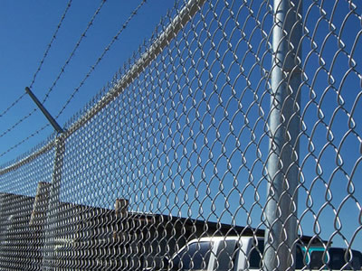 Heavy Chain Link Fence Used With Razor Barbed Wire For