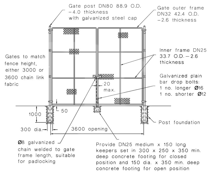 This is a drawing of 3600 mm double leaf gate which specifies the posts, fails, foundation and keepers.