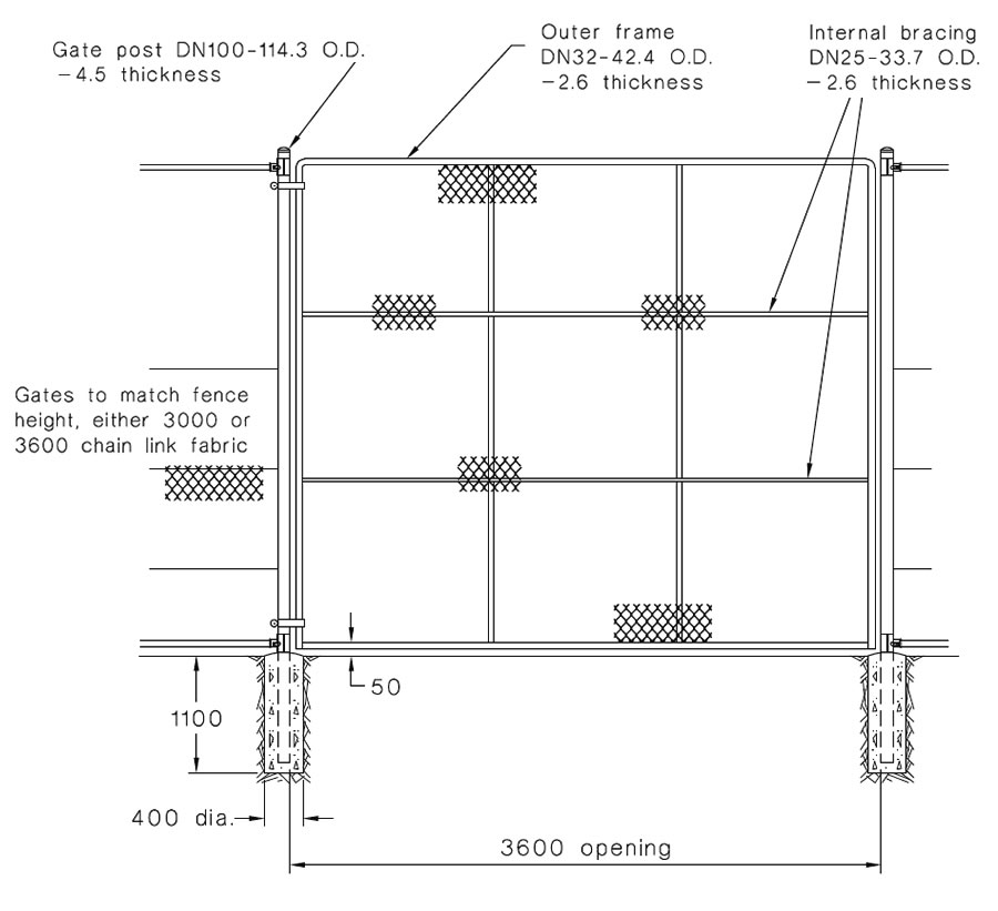 This is a drawing of 3600 mm single leaf gate which specifies the posts, fails, foundation and keepers.