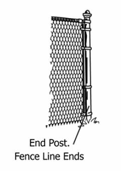 A drawing of chain link fence end post.