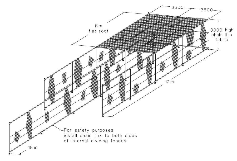 This is a drawing of flat pitch enclosure with two combined, the internal dividing fences are lengthened into a 18 m face.