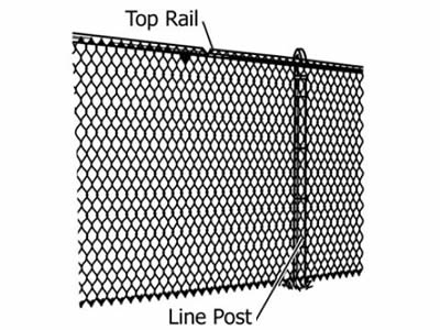 The drawing of chain link fence line post and top rail.