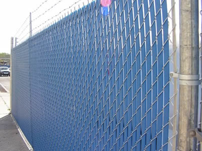 chain link fence slats in blue color