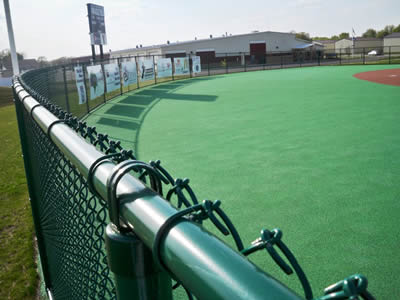 Green Chain Link Fence used for sports fencing