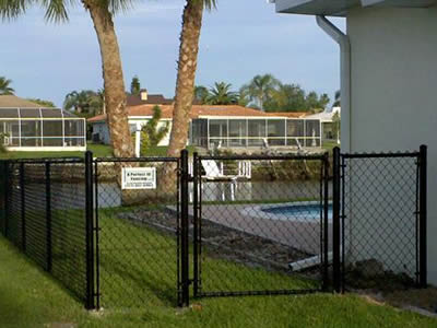 black Chain Link Fence Panel